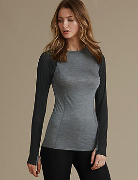 Long Sleeve Thermal Top with Merino Wool, BLACK MIX, catlanding