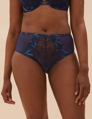 Graphic Floral Lace High Waisted Brazilian Knickers