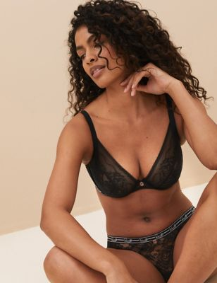 Lace Underwired Non Padded Plunge Bra F-H