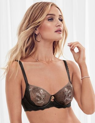 Placement Embroidered Balcony Bra A-E