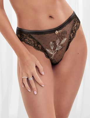 Placement Embroidery Low Rise Thong