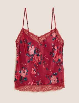 Rose Print Silk Cami