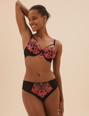 Heart Embroidery Underwired Full Cup Bra A-E