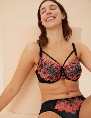 Heart Embroidered Underwired Full Cup Bra F-H