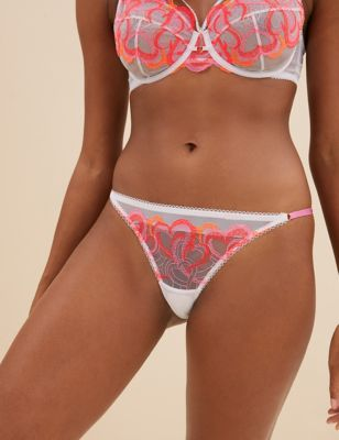Heart Embroidery Low Rise Thong
