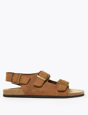 Leather Double Buckle Sandals