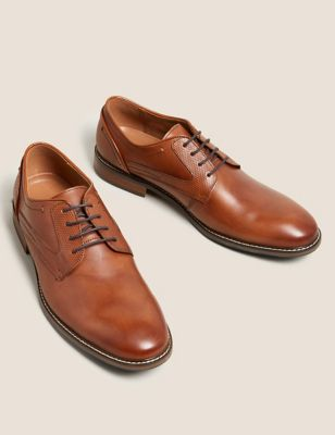 Leather Saffiano Print Derby Shoes