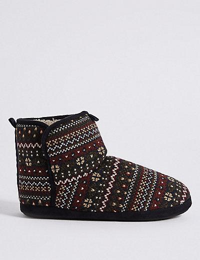 Fairisle Slipper Boots with Freshfeet™ | M&S