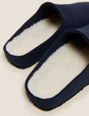 Borg Lined Mule Slippers with Freshfeet™