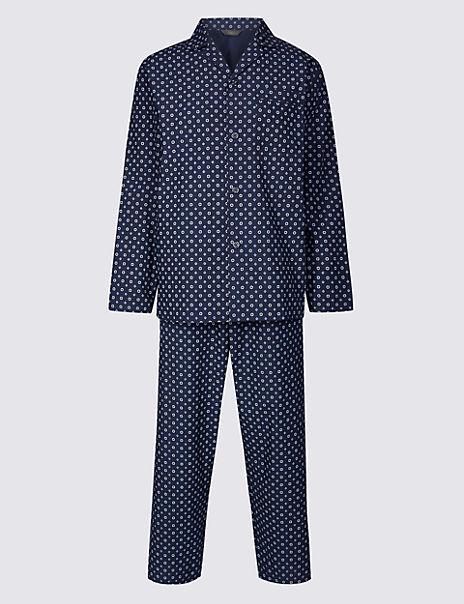 2in Longer Cotton Blend Printed Pyjama Set