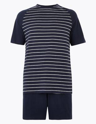 Longer Length Pure Cotton Striped Pyjama Set