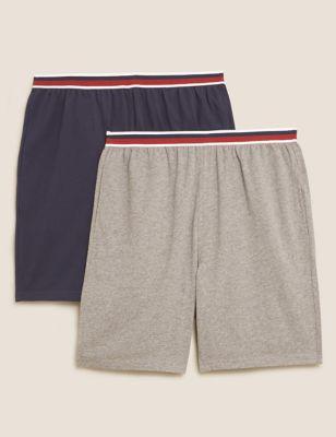 2 Pack Pure Cotton Pyjama Shorts