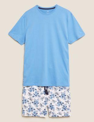 Pure Cotton Hibiscus Print Pyjama Set