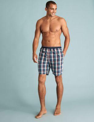 2 Pack Pure Cotton Checked Pyjama Shorts