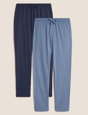 2 Pack Pure Cotton Jersey Pyjama Bottoms
