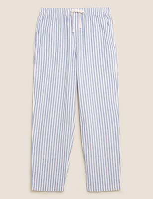 Cotton Linen Striped Pyjama Bottoms
