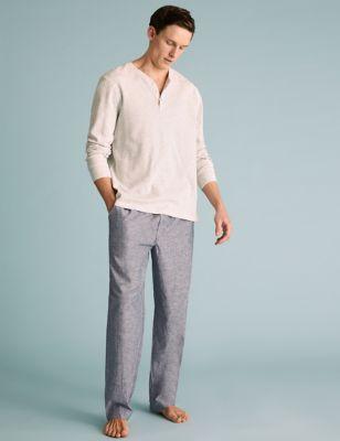 Cotton Linen Chambray Pyjama Bottoms