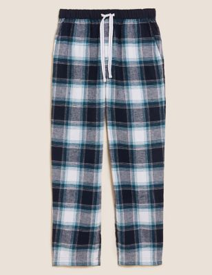 Brushed Cotton Checked Loungewear Bottoms
