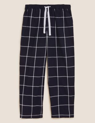 Pure Cotton Checked Loungewear Bottoms