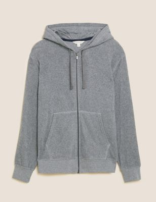 Pure Cotton Towelling Zip Through Hoodie