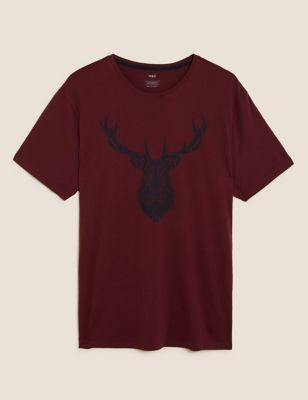 Pure Cotton Stag Print Loungewear Top