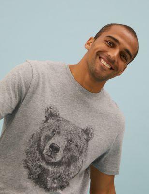 Pure Cotton Bear Print Loungewear Top