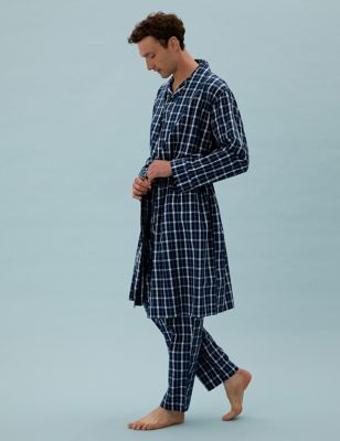 Cotton Lightweight Checked Dressing Gown