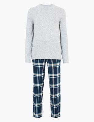 Pure Cotton Shadow Checked Pyjama Set
