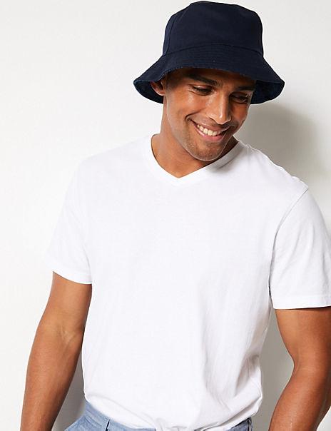 Pure Cotton Palm Print Reversible Bucket Hat