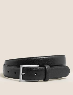Textured Leather Slim Belt