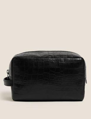 Mock Croc Leather Washbag