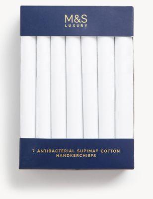 7 Pack Antibacterial Premium Cotton Handkerchiefs with Sanitized Finish®