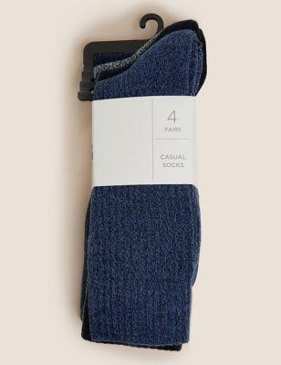 4pk Cotton Casual Cushioned Socks