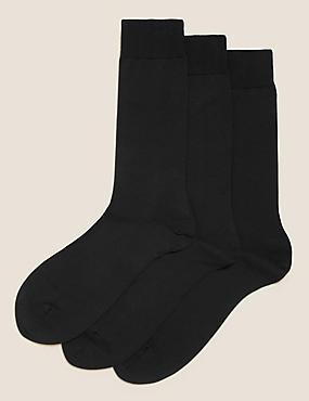 3 Pairs Of Luxury Egyptian Cotton Rich Socks, BLACK, catlanding