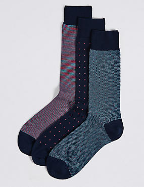 3 Pairs of Luxury Egyptian Cotton Socks, NAVY MIX, catlanding