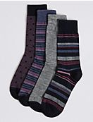 4 Pack Wool Rich Assorted Socks