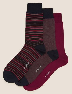 3pk Modal Pima Cotton Striped Socks