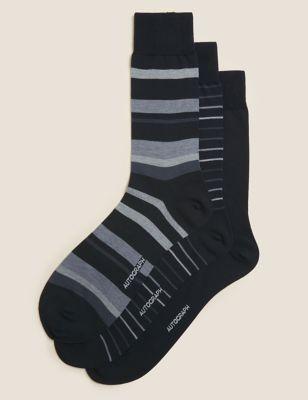 3pk Striped Modal Pima Cotton Socks