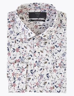 Slim Fit Pure Cotton Floral Shirt