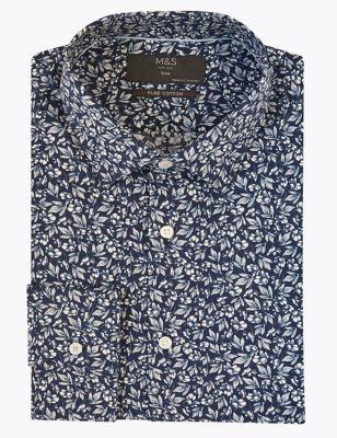 Slim Fit Pure Cotton Floral Print Shirt