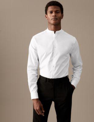 Slim Fit Cotton Grandad Collar Shirt