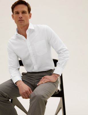 Shorter Length Slim Fit Twill Non Iron Shirt