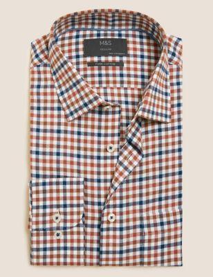 Regular Fit Brushed Cotton Check Shirt