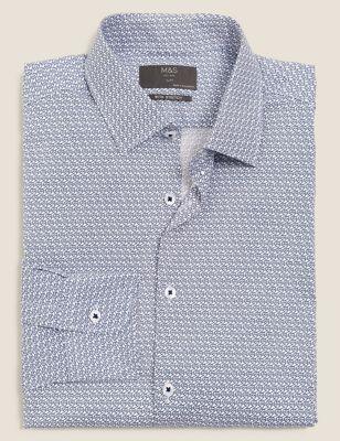 Slim Fit Cotton Owl Print Stretch Shirt