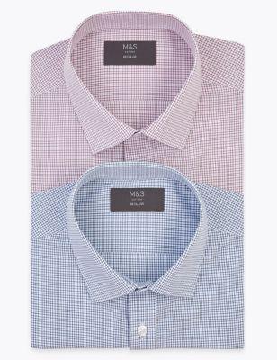 2 Pack Regular Fit Check Short Sleeve Shirts