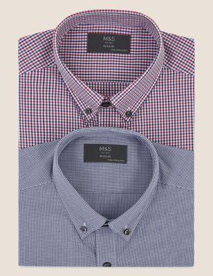 2 Pack Regular Fit Gingham Long Sleeve Shirts
