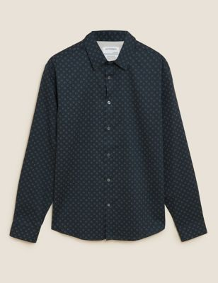 Regular Fit Cotton Geometric Print Shirt