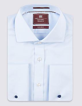 2in Longer Pure Cotton Easy to Iron Shirt, SKY, catlanding