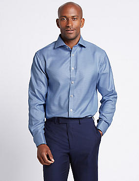 Pure Cotton Easy to Iron Regular Fit Shirt, NAVY, catlanding