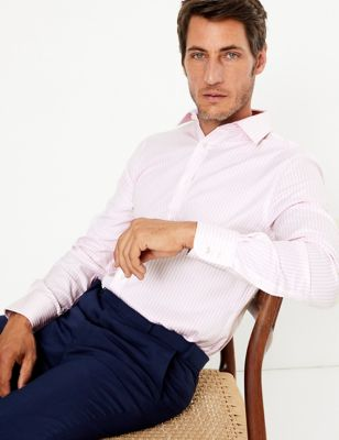 Tailored Fit English Fine Cotton Striped Shirt